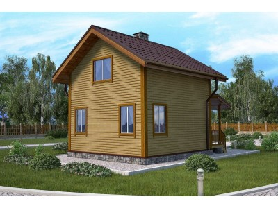 Дом 6х6 м. 150x150 мм. с мансардным этажом