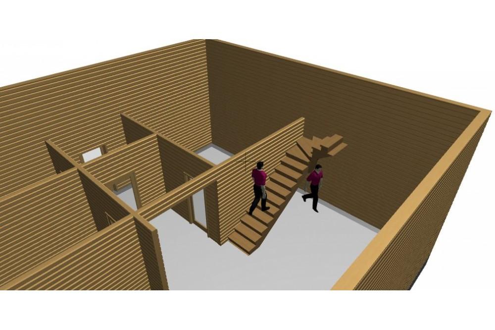 Дом 8х8 м. 150x150 мм. с мансардным этажом и вторым светом