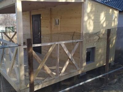 каркасная баня с большой террасой