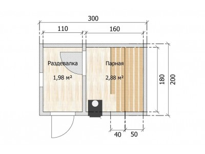 Баня каркасная размер 2×3 м. (2 отделения)