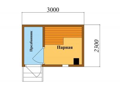 Баня каркасная размер 2,3×2 м. (1 отделение)