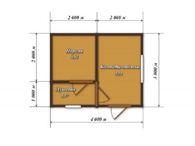 Баня каркасная размер 3×4 м. (3 отделения)