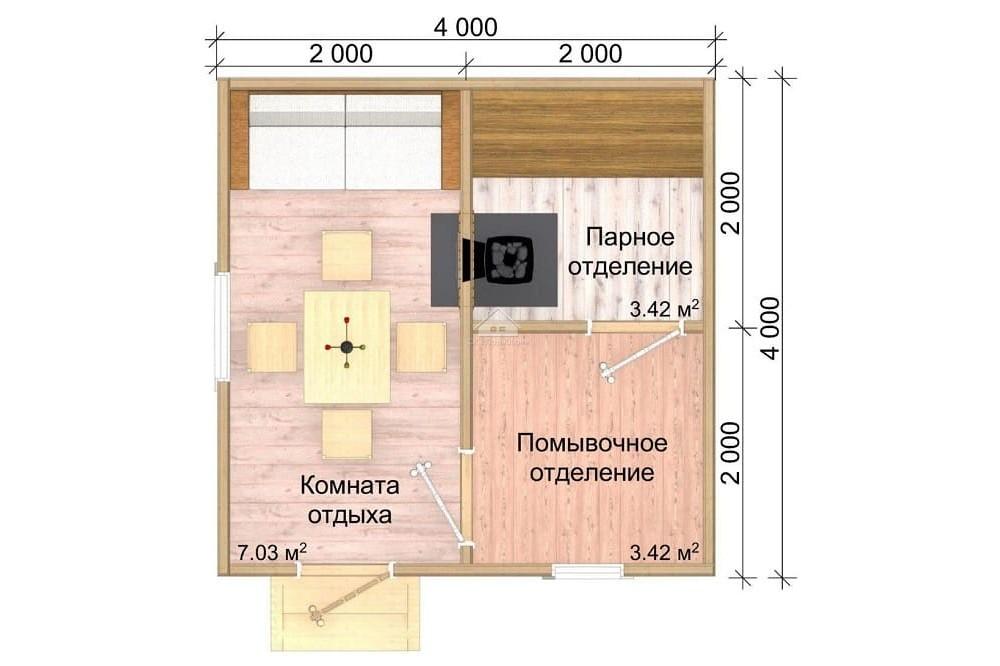 Мобильная баня 4х4 м.