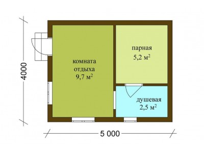 Баня каркасная размер 5×4 м. (3 отделения)