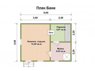 Баня каркасная размер 6×4,6 м. (3 отделения)